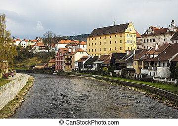 view of Cesky Krumlov in spring. Czech republic - Cesky ...