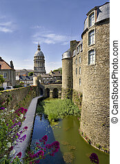 View of Château de Boulogne-sur-Mer (to the right) and Cathedral of Notre-Dame (in the distance, straight ahead), in Boulogne, northern France.