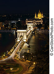 view of chain bridge in Budapest, Hungary