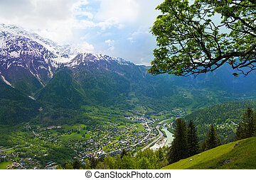 View of Chamonix from top, France