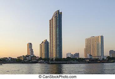 view of Chao Praya River , Bangkok, Thailand