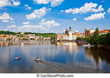 view of the Charles Bridge in Prague from the bridge of Legions