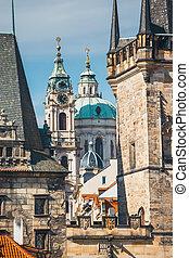 View of Charles Bridge in Prague, Czech Republic. No people