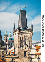 View of Charles Bridge in Prague, Czech Republic. No people