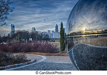 view of charlotte nc skyline from midtown park