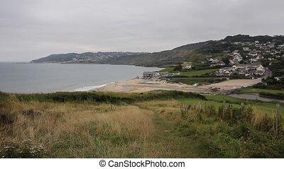 View of Charmouth Dorset England uk - Charmouth beach Dorset...