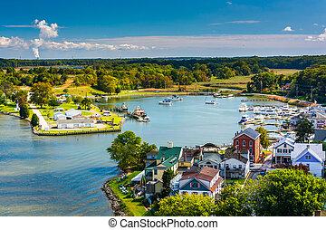 View of Chesapeake City from the Chesapeake City Bridge,...