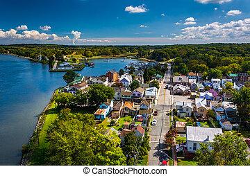 View of Chesapeake City from the Chesapeake City Bridge, ...