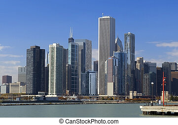 view of Chicago from the embankment