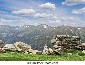 View of Chornohora range from peak Pip Ivan in Carpathians