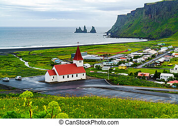 View of church at the village of Vik