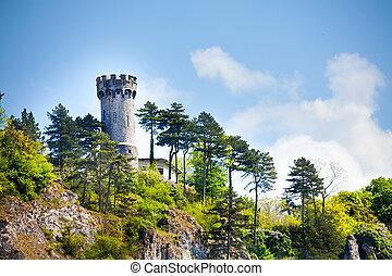 View of Citadelle de Dinant in Belgium on hill