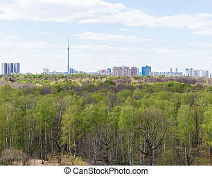 city and green forest in spring day