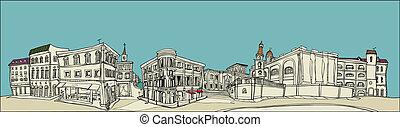 View of City - This illustration is a common cityscape.