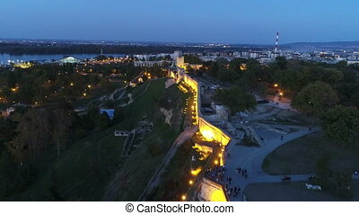 View of city fortress in twilight