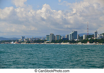view of city from sea side in Sochi, Russia