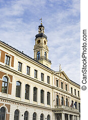 View of City hall and the main square in old city of Riga, Latvia.