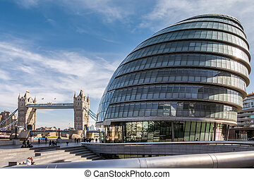 View of City Hall and Tower Bridge in London