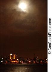 city in moonlight