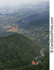 view of city Jiujiang from mountain Lu