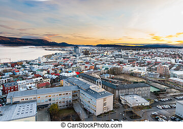 view of city of Reykjavik in Iceland
