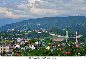 View of city of Sochi on the background of mountains, Russia