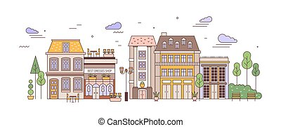View of city or town street with exquisite antique residential buildings of European architecture. Urban landscape or cityscape with living houses. Colorful vector illustration in linear style.