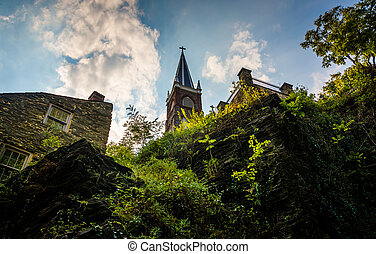View of cliffs and St. Peter's Roman Catholic Church in Harper's Ferry, Virginia.