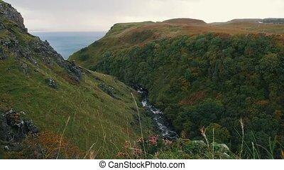 View of cliffs near sea at Scottish Highlands - Skye UK,...