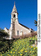 View of Clifton Hampden church on a sunny spring day