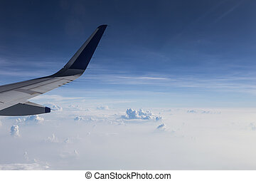 View of clouds from a airplane window