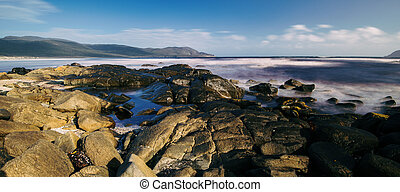 View of Cloudy Bay in Bruny Island, Tasmania, Australia. -...