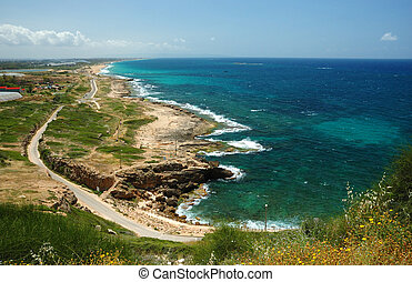 View of coast from Rosh HaNikra, looking South towards Israel