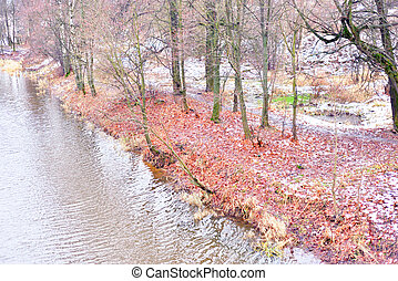 View of coast of river at autumn. - View of coast of the...