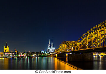 view of Cologne Cathedral at night