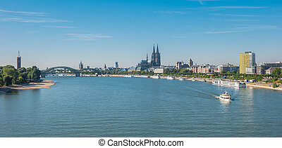 view of Cologne city with cathedral at summer