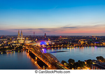 view of Cologne with Cologne Cathedral at sunset