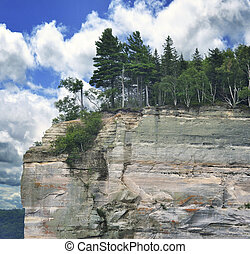 Cliff  -  View Of  Colorful Huge Cliff And Sky