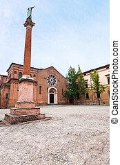 statue of Saint Dominic and Basilica of San Domenic