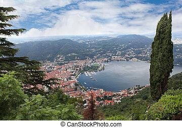 View of Como city on Como lake in Italy