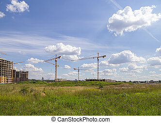 View of construction site, industrial image. Moscow, Russia
