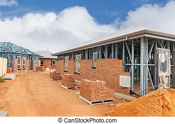 construction site - view of construction site with homes ...