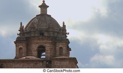 View Of Corincancha Temple Dome, Cusco, Peru - Close-up low...