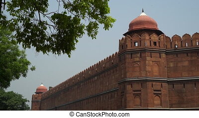 View of corner turret tower. - At Red Fort (Lal Qila). View...