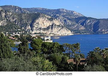 View of Cote d'Azur near the town of Villefranche-sur-Mer