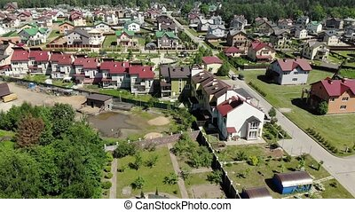 View of cottage village near Moscow from top, Russia - View...