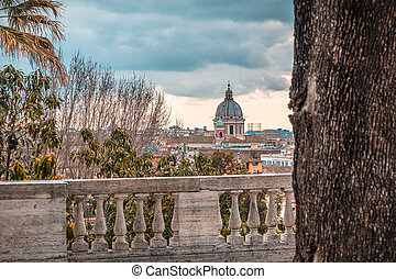 view of couple from terrace in Rome