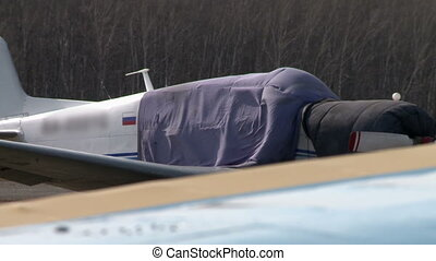 View of cover flutters on Russian airplane