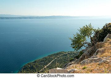 View of Croatian Makarska Riviera coastline from Biokovo