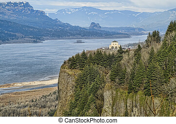 View of Crown Point and Columbia Gorge.  Oregon, USA.
